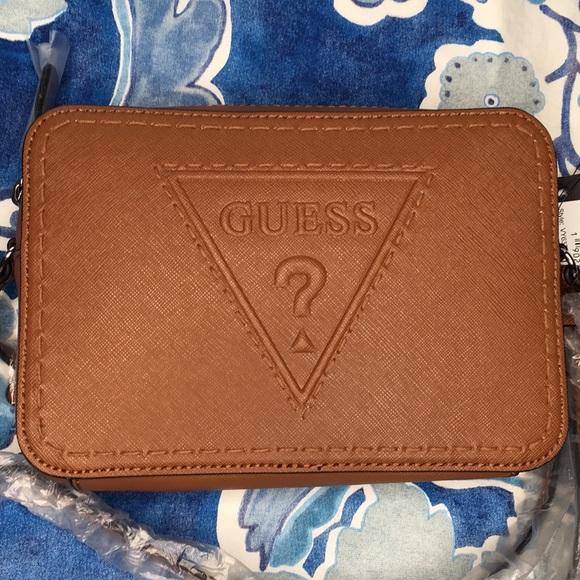 5914f7bb04de Guess Baldwin Park embossed whiskey crossbody bag